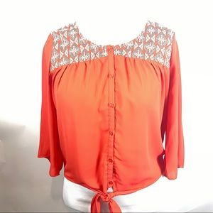 Bright Day Trip Aztec Coral and Teal Top